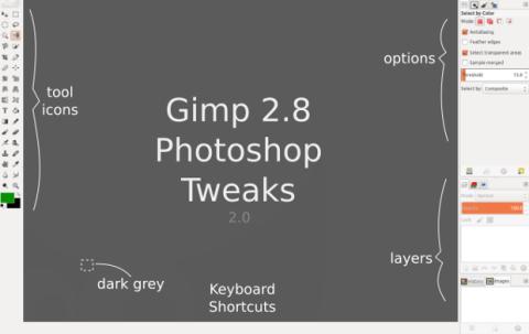 Opciones del tema de Photoshop para GIMP