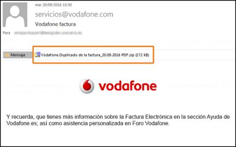 Correo falso Vodafone