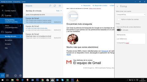 Configuración de firma en la aplicación de correo de windows 10