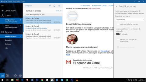 Configuración de las notificaciones en la aplicación de correo de windows 10