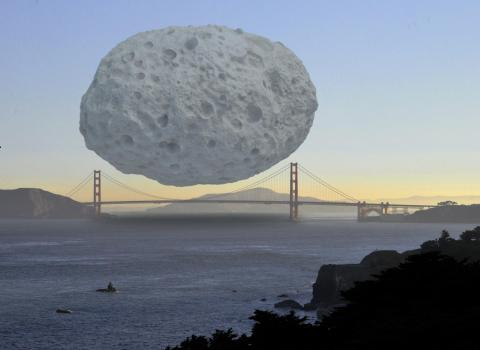 El asteroide Dionisio comparado con el Golden Gate de San Francisco