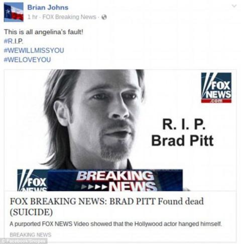 Noticia falsa muerte de Brad Pitt