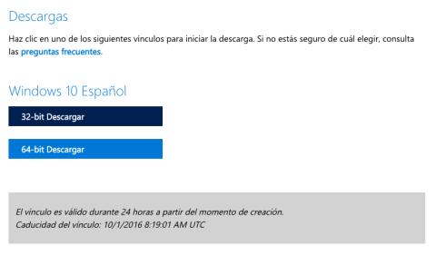 descargar Windows 10 desde la página de Microsoft