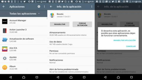 Desactivar aplicaciones instaladas de fábrica en Android