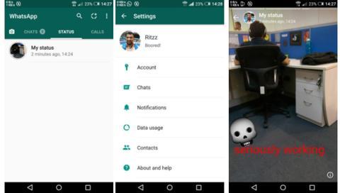 Ejemplo de un estado en WhatsApp para Android