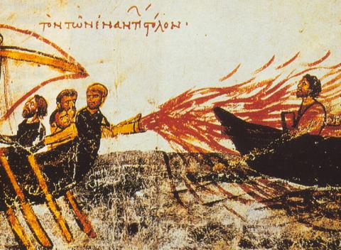 Ilustración del fuego griego