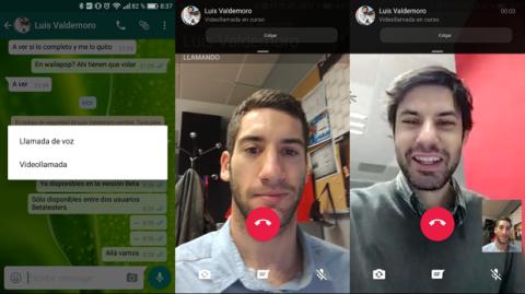 Ejemplo de una videollamada en WhatsApp para Android