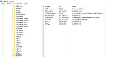 Almacenamiento USB en registro de Windows 10