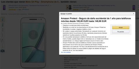 Ejemplo del seguro de Amazon Protect para un móvil