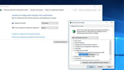 Desactivar el modo selectivo de suspensión en Windows.
