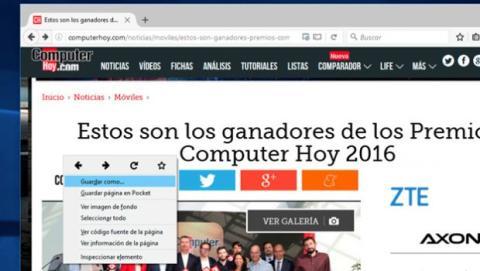 Descargar una página web con Firefox