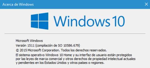 La ventana de Acerca de Windows 10