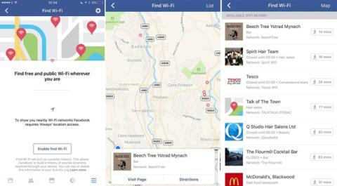 Así es el menú para encontrar WiFi gratis en Facebook