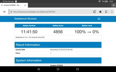 Imagen benchmark batería de la Amazon Fire HD 8