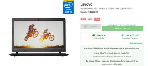 Portatil Lenovo Cyber Monday