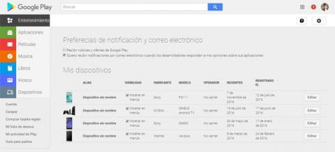 Ocultar dispositivos en Google Play