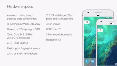 especificaciones google pixel xl