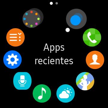 Primera página del menú de aplicaciones