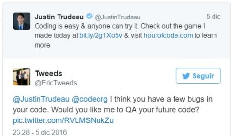El Primer Ministro de Canadá publica su primer juego... lleno de bugs