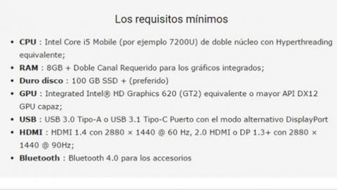 requisitos mínimos windows 10 vr