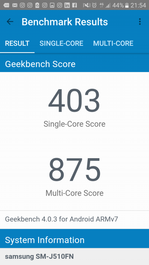 Resultados Multi Core y Single Core Geekbench 4