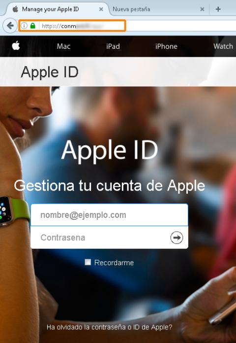 Página falsa Apple