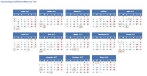 Calendario de la Renta 2016