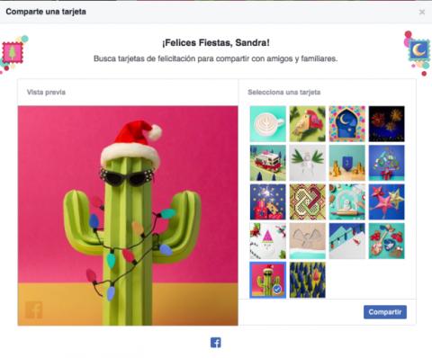 Elige tarjeta de felicitación en Facebook