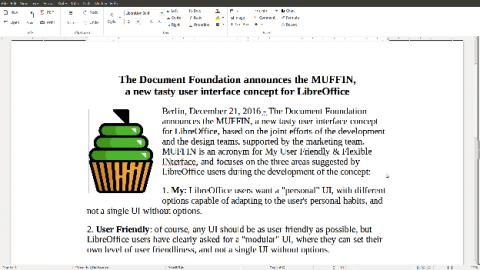 La vista Notebook Bar de LibreOffice 5.3