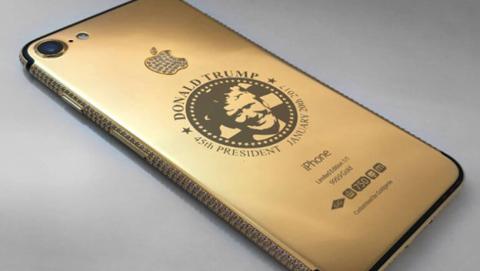 Existe el iPhone de Donald Trump, es de oro y lleva diamantes