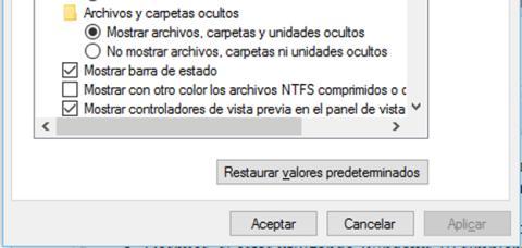 Mostrar los archivos ocultos en Windows 10