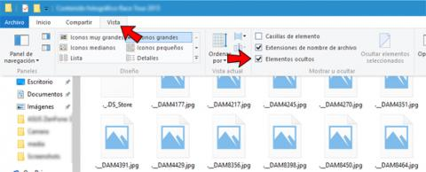 Vista de elementos ocultos en un USB en Windows