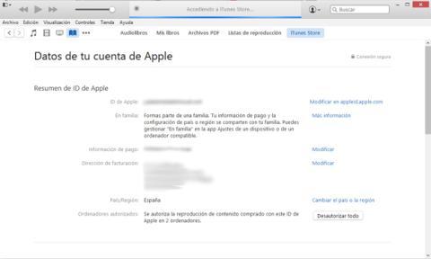 Cambiar el país en la iTunes Store