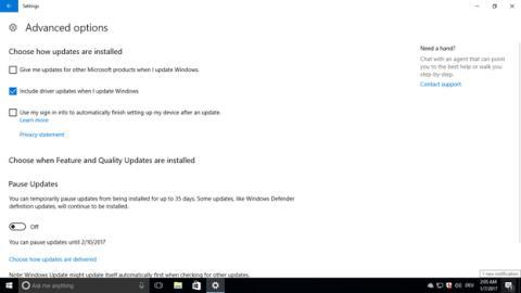 La opción de excluir los drivers en las actualizaciones de Windows