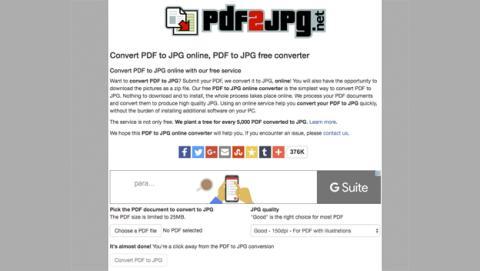 PDF2JPG, una página para convertir un PDF en una imagen
