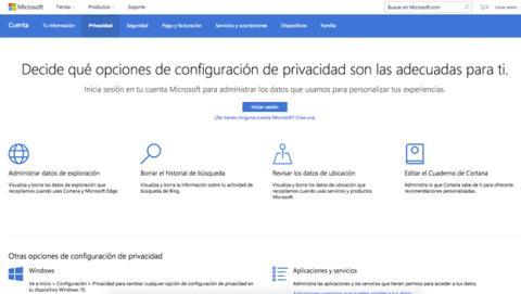 La página con los ajustes de privacidad de Microsoft