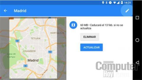 Actualizar tus zonas sin conexión de Google Maps