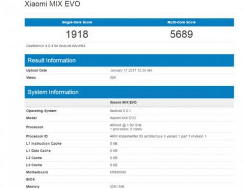 geekbench xiaomi mi mix evo