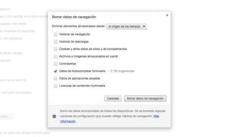 Borrar historial Chrome