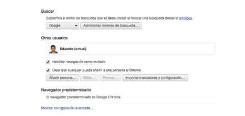 Configuración avanzada Chrome