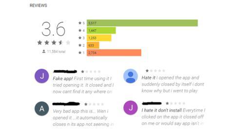 Las reviews que estaban acumulando estas aplicaciones maliciosas en Google Play