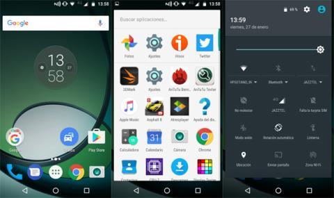 La interfaz corresponde a Android 6.0.1 Marshmallow, así que poca personalización hay