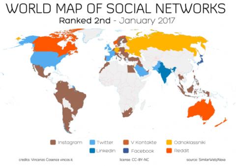 segundas redes sociales más usadas en el mundo