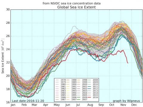 La extensión del hielo en todo el mundo en las últimas décadas