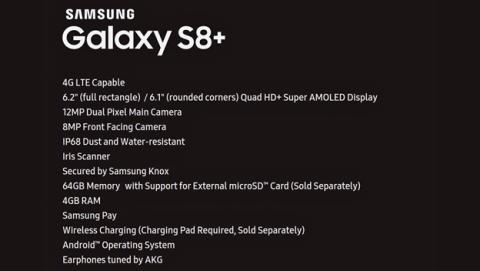 La tabla extra-oficial de características del Galaxy S8 Plus