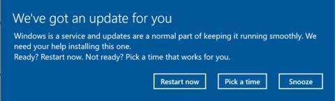 La opción de posponer una actualización en Windows 10