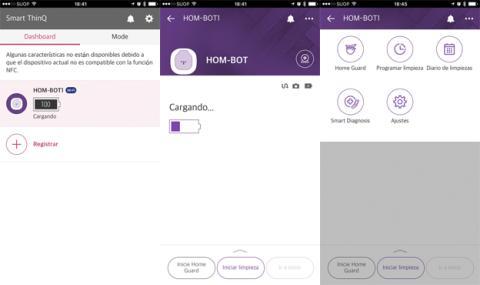 La aplicación de LG que permite controlar el LG Hombot Turbo