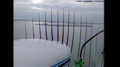 Efecto Rolling Shutter en la hélice de un avión