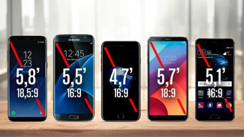 Comparativa de tamaños de pantalla y dimensiones frente al Galaxy S8