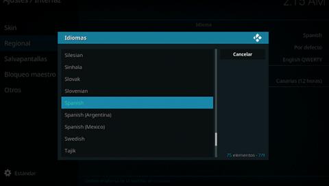Cambia el idioma de la interfaz de Kodi